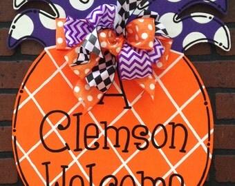 A Clemson Welcome Door Hanger Sign