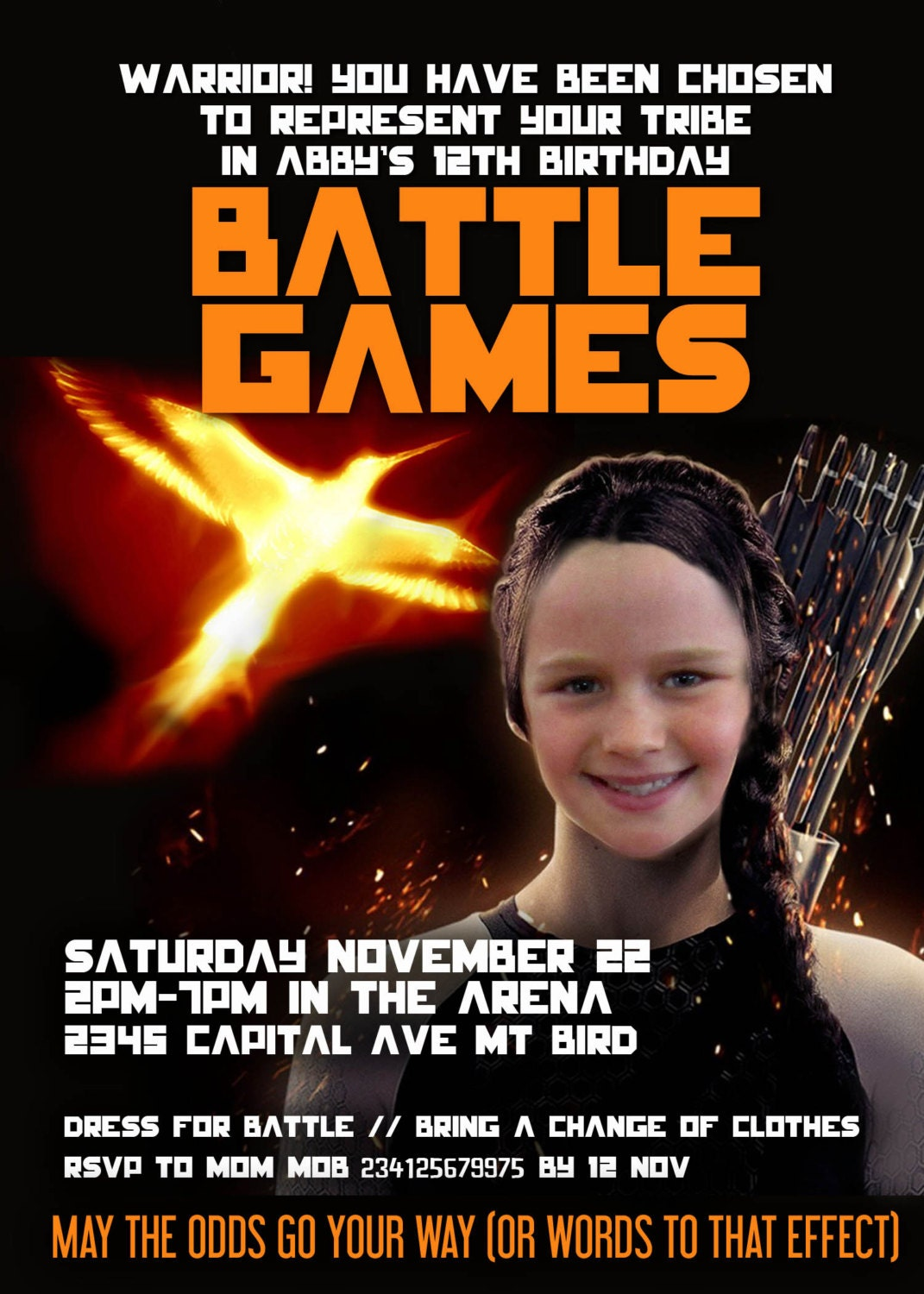 Battle Games Hunger Games-ish Party Printable Invitation