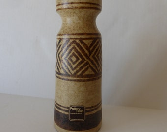 Pottery Craft Seventies Brown And Tan Geometric Design Vase