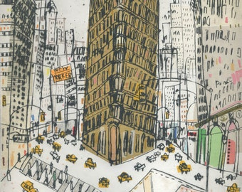 FLATIRON ART PRINT Manhattan New York City, Flatiron Building, Nyc Taxi painting, Signed Limited Edition Art, Drypoint Print Clare Caulfield