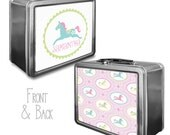 Personalized Lunchbox & Memory Box- Carousel Horse, Rockinghorse- Gifts for Girls - Metal Lunch Box