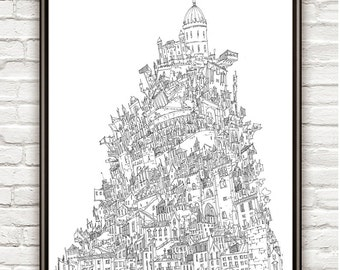 Babel, Surrealism, architectural Drawing, Architecture sketch