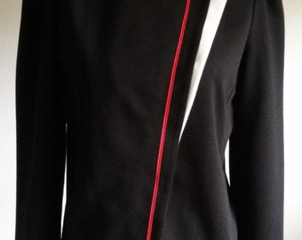 Vintage 1980s Womens Black Jacket with Red and White Trim Size 12 Medium