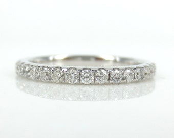 1.9mm  Diamond Pave Eternity Band Ring - Stackable - Wedding Band