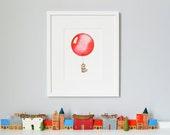 Red Balloon, Children's Art, Nursery Print, Whimsical Kid's Picture, Watercolour Giclée Print, Christening gift.