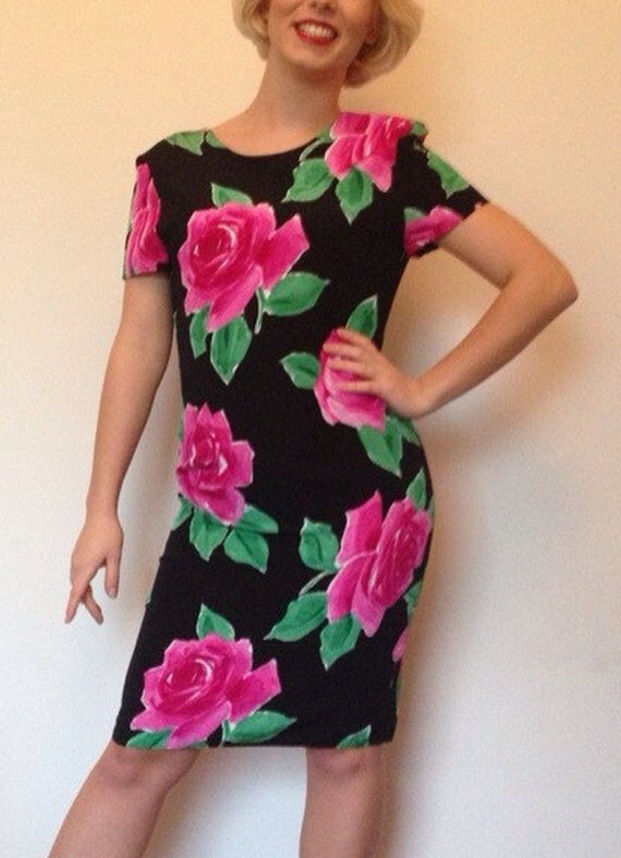 Vintage rose print dress hourglass shift black wiggle pin up hot pink roses sexy evening frock cocktail UK 8 1980s but 1950s style