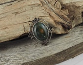 Natural Stone Boho Brooch - Dark Green and Red Bloodstone Brooch - Antique Silver Finish with Bloodstone