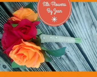 Red Orange Wedding Bouquet Fall Bouquet, Orange Rose Bouquet, Rustic Burlap Bouquet, Red Rose Bouquet, Red Orange Bouquet, Rustic Wedding