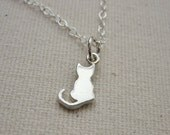 Tiny Cat Sterling Silver Kitty Necklace - Simple Everyday Jewelry - Customize Personalize