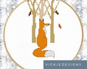 Fox Trees Forest Modern Cross Stitch Pattern PDF