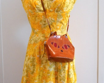 50s Vintage Yellow Floral Dress, Metal Zipper Back with Bow Hook, XXS