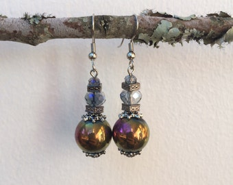 Handmade Iridescent Glass and Metal Beaded Earrings