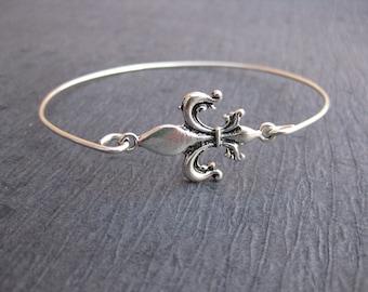Fleur de Lis Jewelry | French Bracelet | Silver Fleur-De-Lis Bracelet | Paris Jewelry Paris Bracelet, Silver Bangle Bracelet, Fleur de Lis