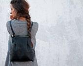 Leather backpack/women bag/black leather bag/black/gift/style/fashion/christmas