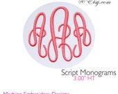 Script Monograms Ver 2 Machine Embroidery Designs BX format Monogram Font Digital Download