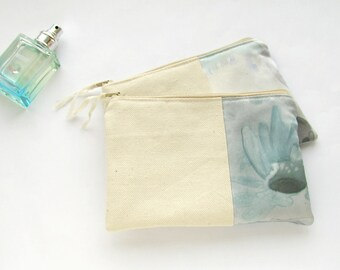 Bridesmaid gift SET of 2 wedding clutches, linen and grey cosmetic bags