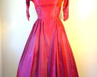 1950s Iridescent Taffeta Dress