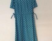 50s Teal sz Med White Polka Dot Adjustable Waist - Sun Dress