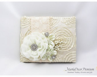 READY TO SHIP Wedding Lace Guest Book Custom Jeweled Bridal Flower Brooch Guest Books in Ivory with Handmade Flowers, Brooches, Crystals
