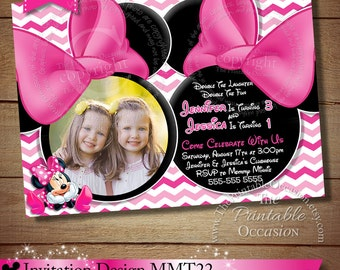 HUGE SELECTION Minnie Mouse Invitation For Twins or Siblings, Pink Chevron Mouse Minnie Mouse Birthday Invitation, Twins Siblings Chevron