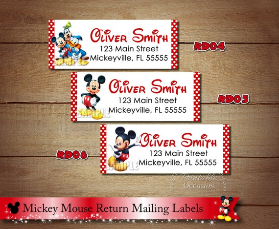 mickey mouse return address labels red polka dot mickey mouse