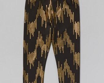 Black & Gold Sequin Leggings - Infant, Toddler, Girls