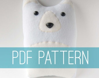 DIY Bear Pattern Woodland Pillow Plush - Fleece Fabric Animal Plushie - Do It Yourself Craft for Children and Adults - Make Your Own Toy