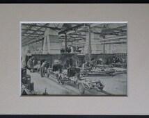 1920s Vintage Print of Plant Oxford when it was the Cowley Morris Car Workshop Retro car production line, antique classic car factory decor