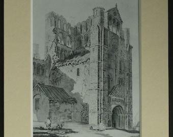 Vintage Print of Kelso Abbey by Henry Edridge Scottish ruined monastery, Scotland landscape decor - Vintage Scottish Gift - Architecture Art