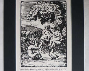 1920s Vintage Polish Fairy Tale Print Cobbler Kopytko & Drake Kwak Childrens nursery decor beautiful folklore illustration Kazimir Klepacki