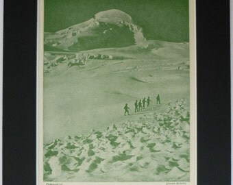 1930s Vintage Mountaineering Print of Climbers on the Fee Glacier Gift Antique Historical mountain climbing decor, beautiful Swiss landscape