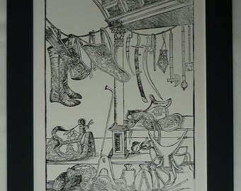 Vintage Equestrian Print of 16th Century Cavalry Saddles and Equipment Tudor military paraphernalia, vintage equestrian decor - Armory Gift