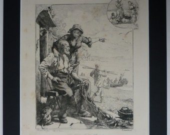 1882 Antique Coastal Print of South Devon Fishermen Victorian fishing decor, seaside fisher folk art - Fisherman Gift - Old Nautical Picture