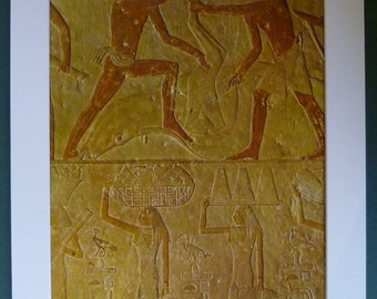 Vintage Egyptian Hieroglyphic Art from the 5th Dynasty of Preparations for a Banquet Beautiful pyramid art, ancient Egypt hieroglyph decor