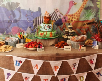 Safari Party Bunting- Happy Birthday Bunting - Animal Wild Birthday Party Backdrop - Jungle, Wild Animal  Party Ideas