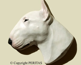 Hand painted white English Bull Terrier dog PERITAS wall sculpture statue fine art relief painting