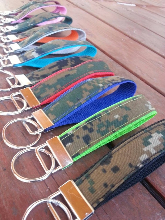 Digital Camo Keychain, Personalized Key Wristlet, You Choose Webbing Color