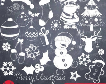 Christmas Chalk doodles clipart commercial use, vector graphics, digital clip art, digital images - CL743