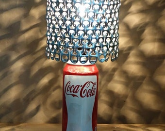 Coca Cola Soda Can Lamp with Pull Tab Lamp Shade *Heirloom Quality*