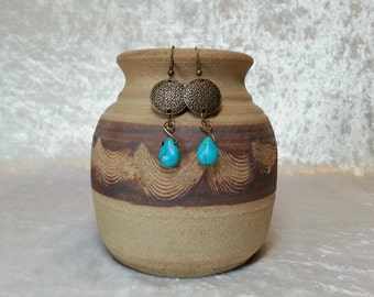 Boho Gypsy Turquoise and Antique Brass Earrings - Floral Embossed - Turquoise Teardrop