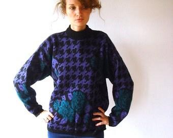 Purple oversize sweater, vintage women jumper, size L