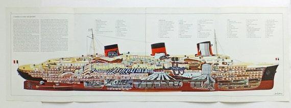 Normandie Ocean Liner Very Long Cutaway Drawing Cruise Ship