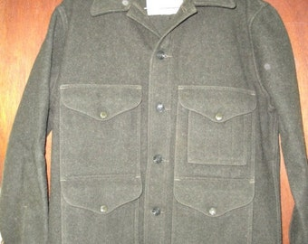 Mens Vintage Filson Mackinaw Cruiser Forest Green Heavy Wool Hunting Field Jacket Coat 38 40
