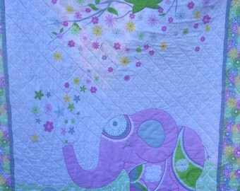 Pink Elephant Quilted Crib Blanket with Flannel Backing or Wall Art