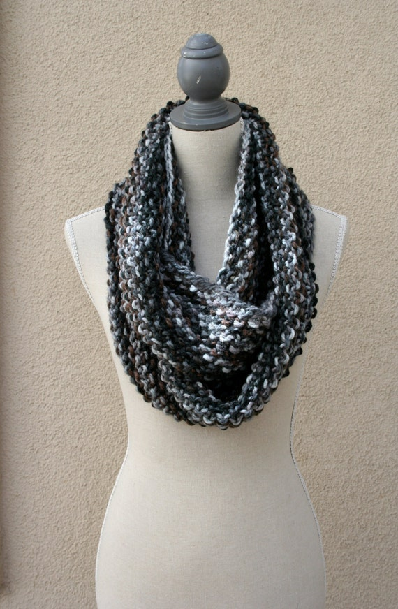 Infinity Scarf-Black, Gray & Brown (Item #100)