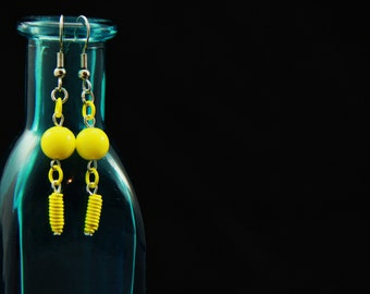 Yellow Wire Coiled Dangle Earrings (WE0001)
