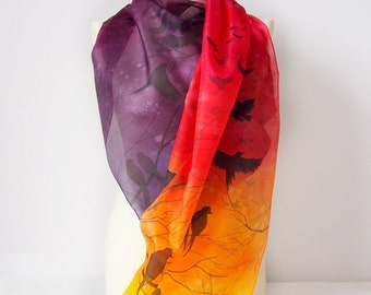 Scarf Sunset - silk scarf Birds in Sunset - handpainted scarf Dusk - silk scarves - flying birds - blackbird - flock - OOAK
