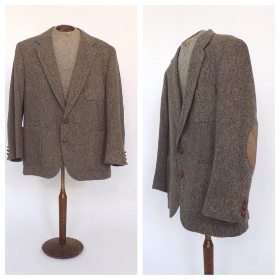 vintage men 39 s jacket tan wool tweed suede elbow by. Black Bedroom Furniture Sets. Home Design Ideas
