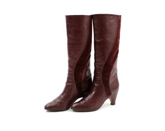 tall burgundy leather boots / wine red suede boots / Italian leather boots 5