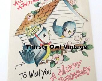 Digital Download, Vintage Bluebird Card, 1950's Bluebird Birthday Card, Twitter Card, Vintage Birthday, Printable Image, Scrapbooking
